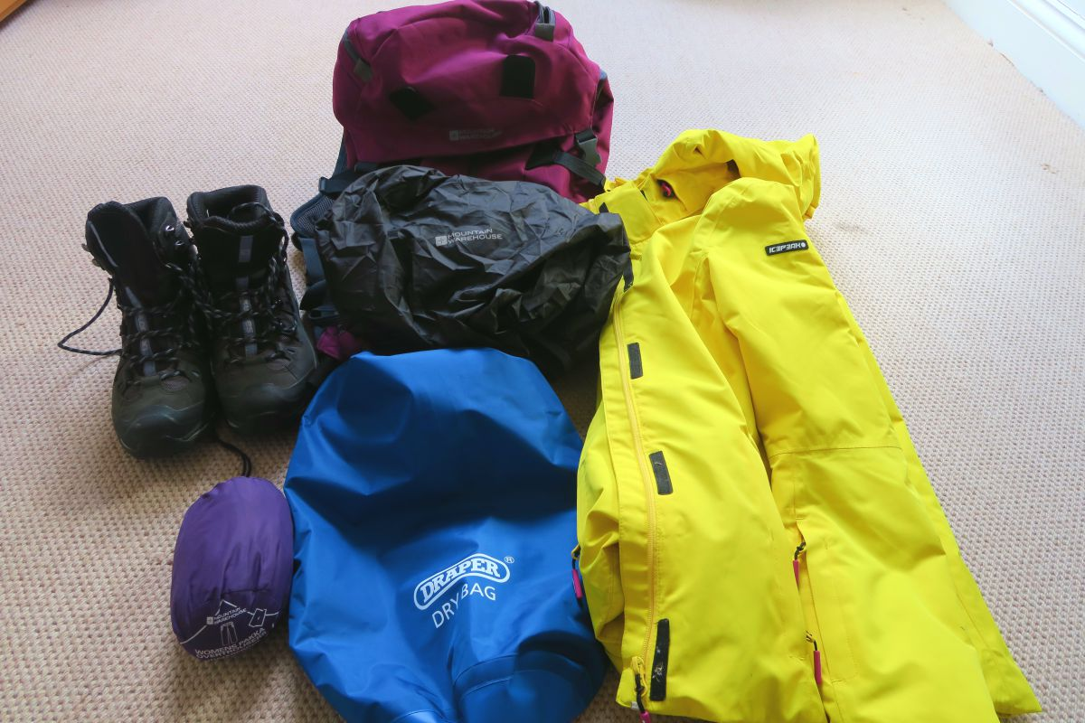 Waterproof boots, trousers, dry bag, rain coat and rain cover for my backpack